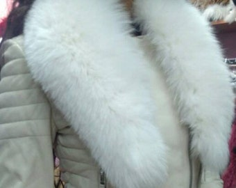 New!!!Natural Real  White FOX collar!
