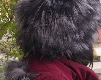 New!Natural,Real Silver Fox Fur HAT!!!