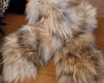 New!!!Natural Real Golden Brown Raccoon Fur collar-scarf!