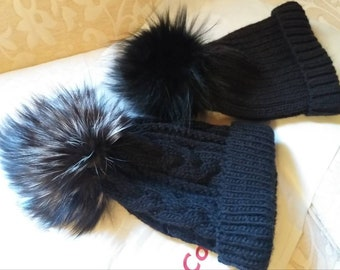 New!Modern knitted Black  Beanie cap  with Real Fox pompon on the top!