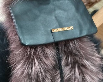 Backpack Bag in SILVER FOX!New and Natural,Real Fur Bag!
