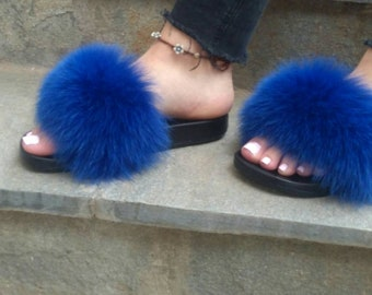 New Real Blue color FOX FUR SLIDES!