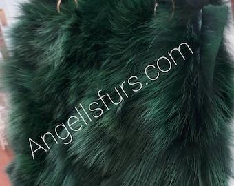 GREEN COLOR FOX Bag!Brand New Real Natural Genuine Fur!