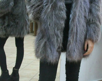 NEW!Beautiful Natural Real Hooded Raccoon Fur Coat!