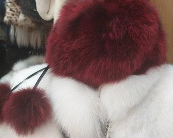 New!Natural,Real BORDEAUX Fox Fur HAT!