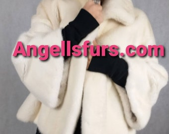 New Natural Real ONE SIZE Amazing PEARL color Fullskin Mink Fur!