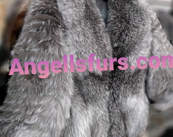 NEW Natural Real Full pelts FOX Fur jacket with Detachable Sleeves!All colors Available!!!