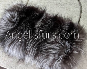 New!Natural,Real Full pelt SILVER FOX Envelope style Fur  Bag!