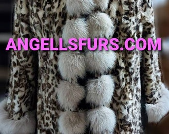 New Natural Real Hooded ANIMAL PRINT MINK Fur Coat with Fox!Order Any color!