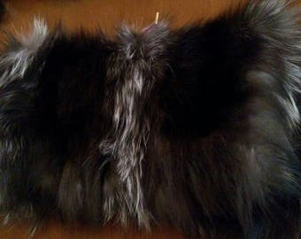 New!Natural,Real SILVER FOX Envelope style Fur  Bag!