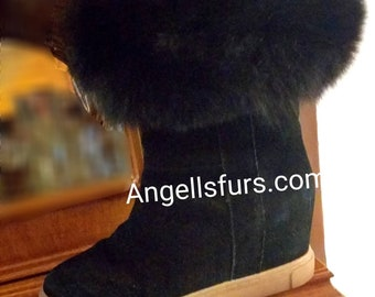Just in! New Real BLACK FOX fur Cuffs for wrapping your Sleeves, LegS or your BOOTS! Order Any color!