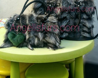 New!Real Natural,Real SILVER FOX Fur Bowling Bag!