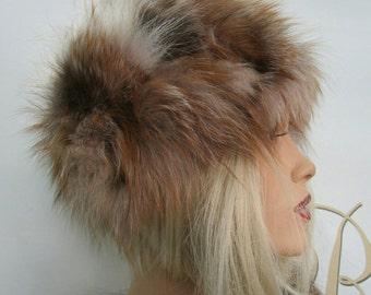 New!Natural,Real Crystal Fox Fur HAT!!!