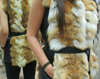 New!Waisted,sexy and modern!Natural Real Red Fox Fur vest with black leather on both sides!