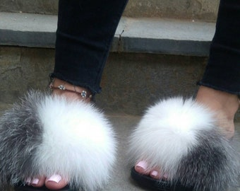 New Real Silver and White FOX Fur SLIDES!
