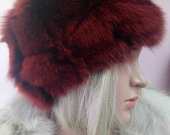 New!Natural,Real beautiful dark Terracotta color FOX  Fur HAT!