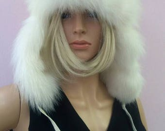New!Natural,Real White Fox Fur HAT!!!