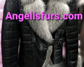 New!Natural Real Sexy model Black Leather Jacket with Silver  Fox collar!