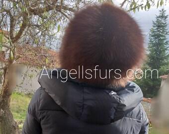 New!Natural,Real Chocolate Brown Fox Fur HAT!
