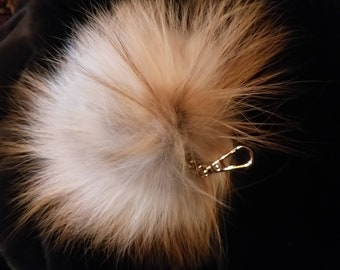 New! FOX POMPOM-keychain in Beautiful  Natural Red Fox  colors!