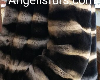 MEN'S New!Real Natural LONG Hooded REX fur coat in chinchilla color!