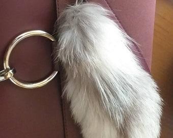 New! FOX POM-tail shape- keychain in Beautiful Silver white Fox!