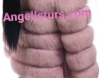 New Natural Real Full pelts Amazing color PINK FOX Fur jacket with Detachable Sleeves!
