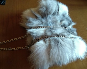 New!Natural,Real Silver cross Small FOX fur shoulder BAG!