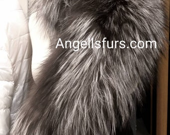 New Natural Real Amazing SILVER FOX collar!