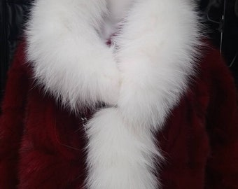 New!Natural Real  DOUBLE White FOX scarf!