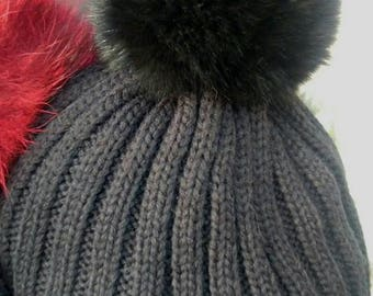 New!Modern Cap with any color Real Fox pompon on the top you want!