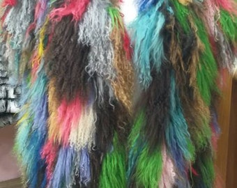 NEW! Natural,Real MULTICOLORED Mongolian Long Lamb Fur Vest!