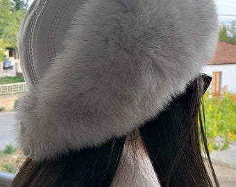 New!Natural,Real Fullskin Blue Fox Fur HAT with White Leather!