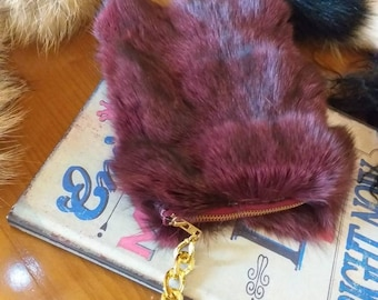 New!Natural,Real Beautiful color FOX Fur Wallet-Keychain-mobile case!