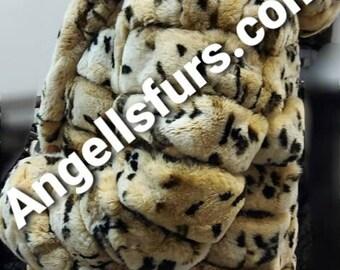 NEW in!Natural Real Beautiful Animal print HOODED Rex fur coat!