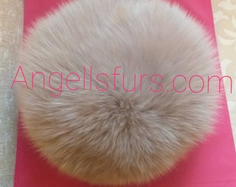 New!Natural,Real Amazing NUDE color full pelt Fox Fur HAT!