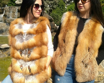 New!Natural Real Full pelts RED Fox Fur vests!Choose yours!