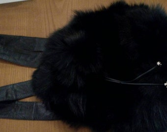 Backpack Bag in BLACK FOX!New and Natural,Real Fur Bag!