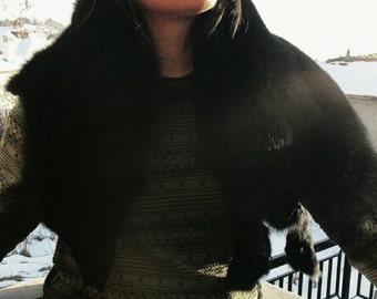 New!!!Natural Real Big BLACK FULLSKIN  Fox collar!