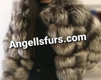 New,Natural Real SILVER Fox Fur jacket!