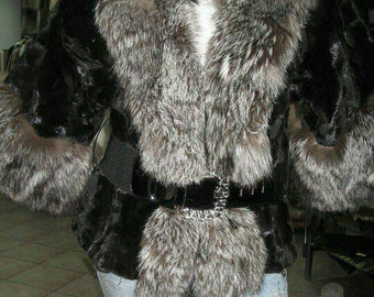 NEW Natural Real KIMONO style Mink Fur Jacket with Silver Fox!