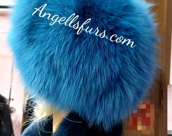 FOX FUR HAT in Bright Royal Blue color! One Size!Brand New Real Natural Genuine Fur