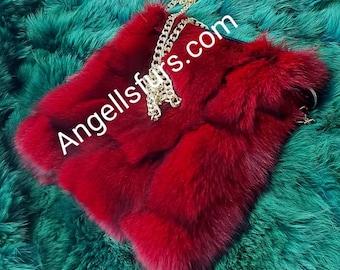 RED color FOX BAG!Brand New Real Natural Genuine Fur!
