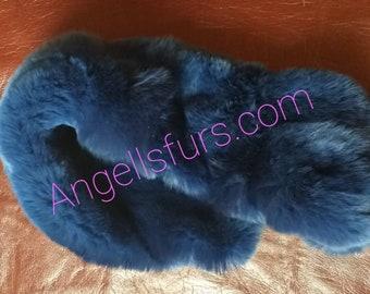 New Natural Real Rex fur Headbands in Blue color!