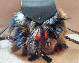 BACKPACK FOX Big Bag in MULTICOLORS!Brand New Real Natural Genuine Fur!