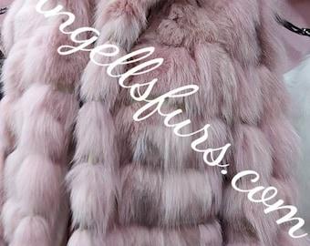 PINK SHORT FOX Fur Jacket!Brand New Real Natural Genuine Fur!Order Any color!
