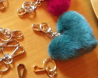 New Beautiful GREEN Heart-Keychain from Real Mink fur!