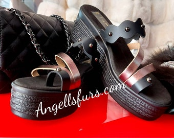 REAL LEATHER PLATFORMS!Summer 2021 New Collection!