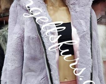 HOODED REX FUR Coat!Amazing color Brand New Natural Real Genuine Fur Coat!