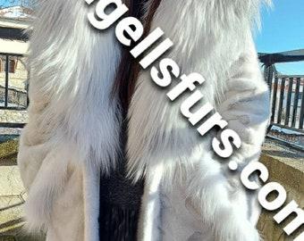 LONG MINK Fur Coat And FOX Hood!Brand New Real Natural Genuine Fur!